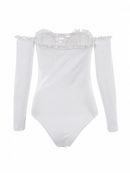 White Off Shoulder Frill Trim Lace Up Long Sleeve Bodysuit