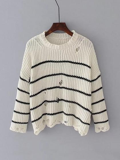 White Stripe Ripped Drop Shoulder Knit Sweater