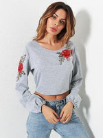 Gray Embroidery Floral Tied Open Back Sweatshirt