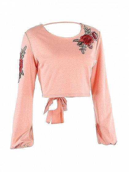 Pink Embroidery Floral Tied Open Back Sweatshirt