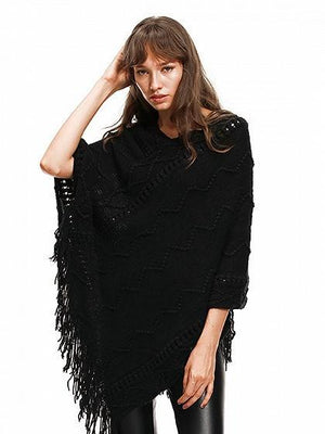 Black V-neck Cable Tassel Hem Knit Poncho