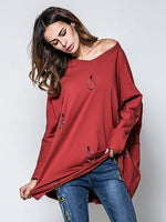 Burgundy Circle Detail Long Sleeve T-shirt