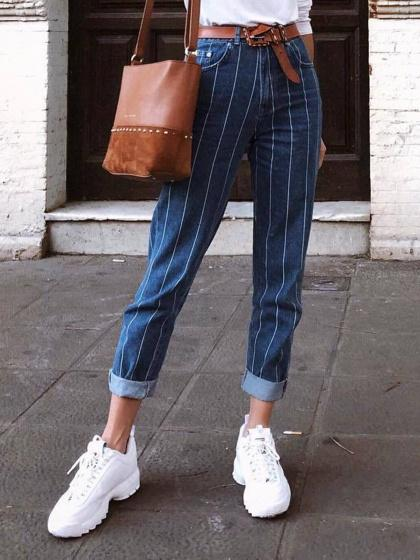 Dark Blue Stripe Cotton High Waist Chic Women Pants