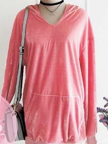Pink Velvet Pouch Pocket Long Sleeve Chic Women Hoodie