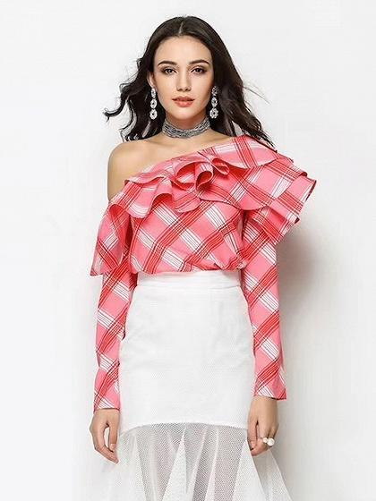Red One Shoulder Ruffle Checker Long Sleeve Blouse