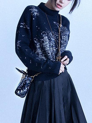 Black High Neck Embroidery Long Sleeve Knit Sweater