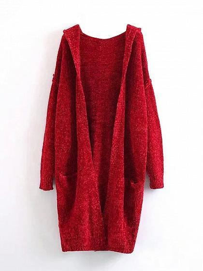 Red Open Front Long Sleeve Hooded  Knit Cardigan