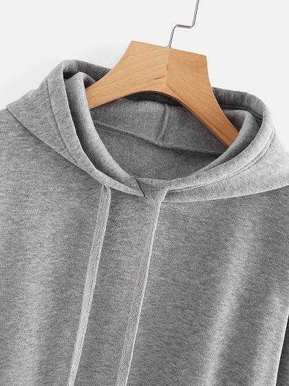 Gray Lace Up Detail Long Sleeve Drawstring Hoodie