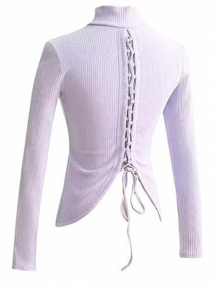 Purple High Neck Lace Up Back Long Sleeve T-shirt