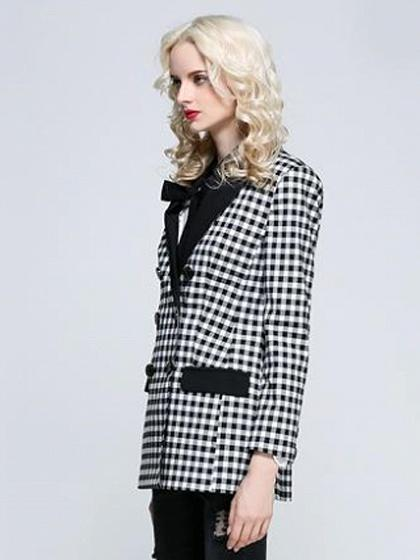 Monochrome Gingham Lapel Double-breasted Long Sleeve Blazer