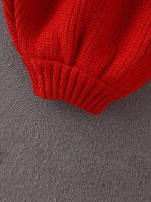 Color Block Puff Sleeve Knit Sweater