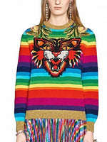 Polychrome Stripe Embroidery Tiger Long Sleeve Knit Sweater