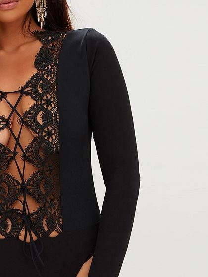 Black Plunge Lace Panel Lattice Tie Front Long Sleeve Bodysuit