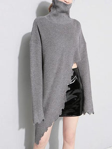 Gray High Neck Asymmetric Hem Long Sleeve Knit Sweater