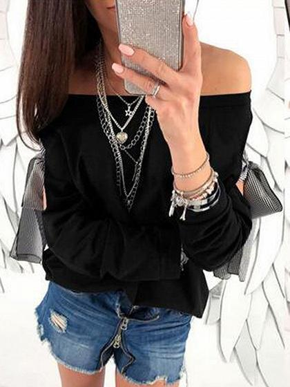Black Off Shoulder Bow Tie Detail Long Sleeve Blouse