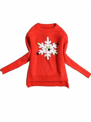 Red Snowflake Pom Pom Detail Knit Sweater