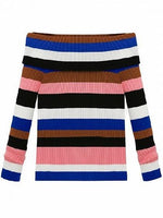Polychrome Stripe Off Shoulder Knit Sweater