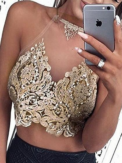 Gold Mesh Halter Strap Back Embroidery Detail Crop Tank Top