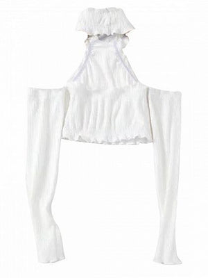 White Halter Ruched Detail Long Sleeve Ribbed Crop Top