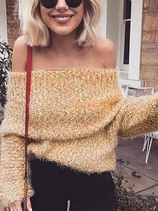 Khaki Off Shoulder Long Sleeve Knit Sweater