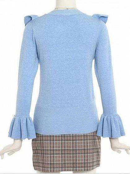 Blue Ruffle Trim Flare Sleeve Knit Sweater