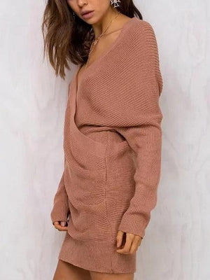 Camel V-neck Wrap Front Long Sleeve Knit Sweater