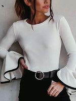 White Flare Sleeve Knit Sweater
