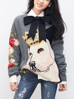 Gray Dog Pattern Long Sleeve Knit Sweater