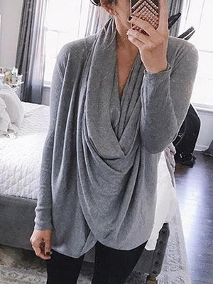 Gray Cowl Neck Long Sleeve T-shirt