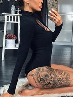 Black Ripped Front Long Sleeve Bodysuit