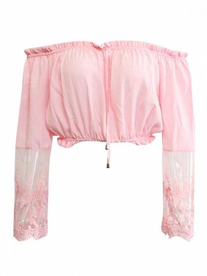 Pink Off Shoulder Sheer Lace Sleeve Crop Top