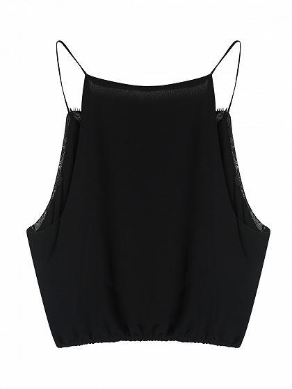 Black Spaghetti Strap V-neck Lace Trim Crop Tank Top