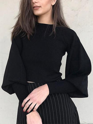 Black Puff Sleeve Knit Sweater