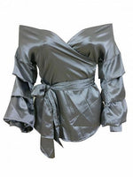Silver Off Shoulder Wrap Tie Waist Ruched Long Sleeve Blouse