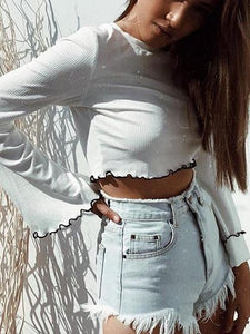 White Flare Sleeve Crop Top