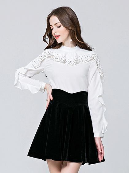 White Beaded Detail Ruffle Trim Long Sleeve Blouse