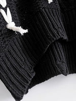 Black Lace Up Detail Long Sleeve Knit Sweater