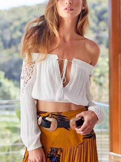 White Off Shoulder Lace Panel Tassel Tie Long Sleeve Blouse