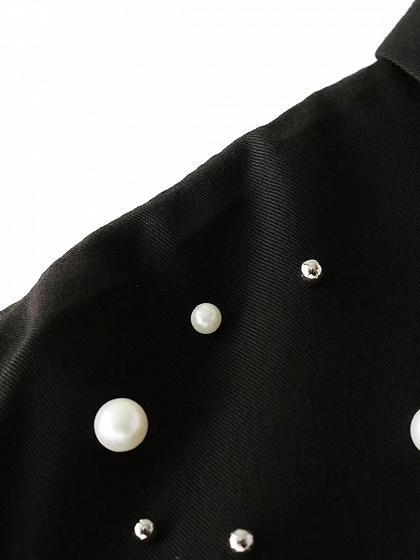 Black Pearl Embellished Long Sleeve Shirt