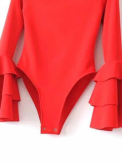 Red Off Shoulder Flare Sleeve Bodysuit