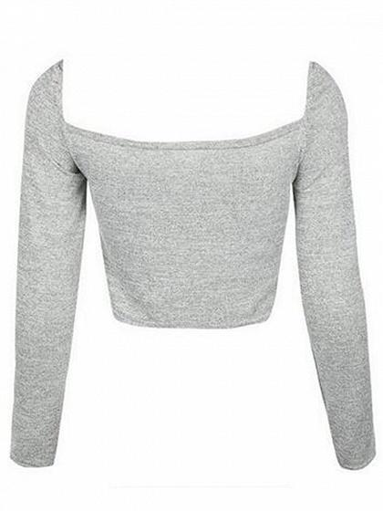 Gray Drawstring Front Long Sleeve Crop Top