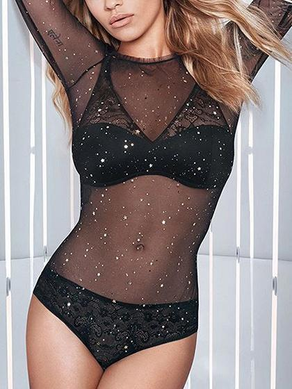 Black Sequin Detail Long Sleeve Sheer Mesh Bodysuit