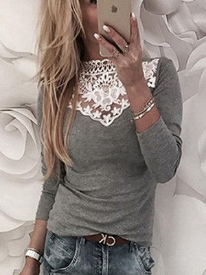 Gray Lace Panel Long Sleeve Blouse