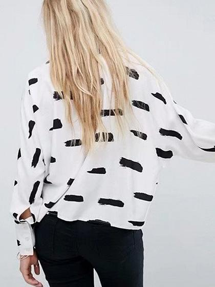 White Print Detail Long Sleeve Shirt