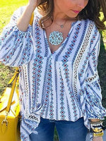 Blue V-neck Cut Out Detail Long Sleeve Blouse