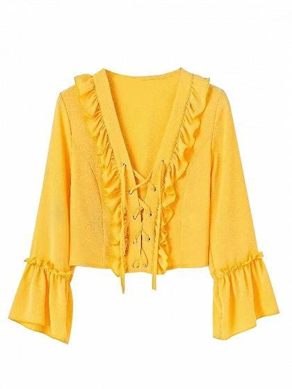 Yellow Lace Up Front Ruffle Trim Long Sleeve Blouse