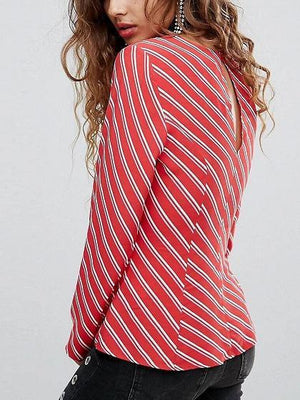 Red Stripe Lace Up Front Long Sleeve Blouse