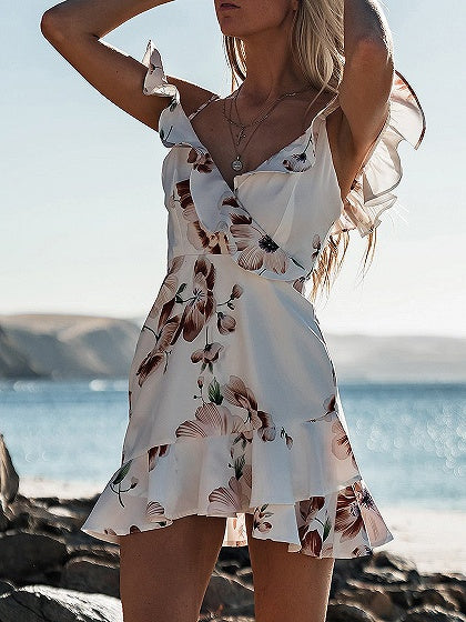Spaghetti Strap V-neck Floral Print Ruffle Trim Mini Dress
