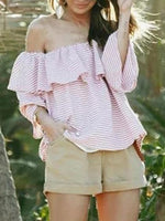 Pink Stripe Off Shoulder Ruffle Trim Flare Sleeve Blouse