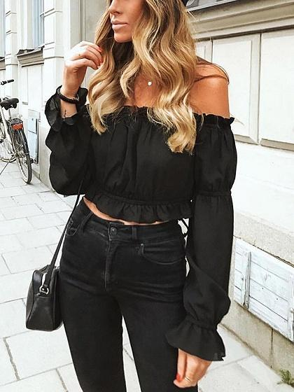 Off Shoulder Frill Trim Flare Sleeve Crop Top